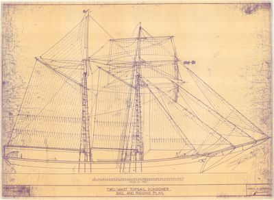 Sailing & Rigging Plan for Two-mast Topsail Schooner