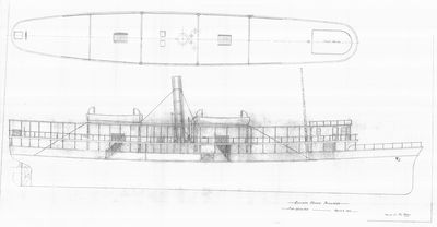 Outboard and Deck Plan of Excursion Steamer Perriwinkle (1885)
