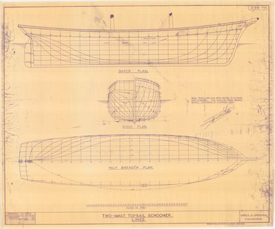 Hull and Body Line Plans for Two-Mast Topsail Schooner