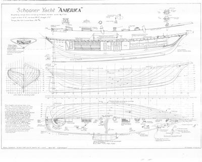 General Arrangement and Hull Lines for Schooner yacht AMERICA (1851)