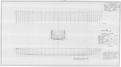 Hull Lines and Body Plan of Steamer MICHIGAN (1843)
