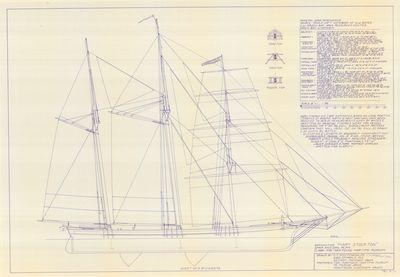 Spar & Sail Plan for Barkentine MARY STOCKTON (1853)