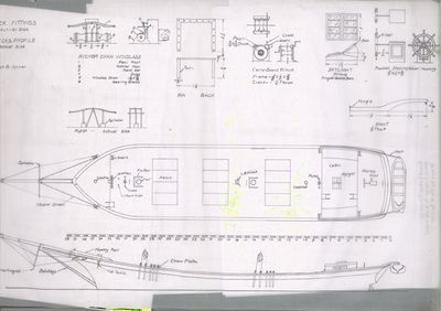 Deck Fittings Plan for Great Lakes Schooner by Jack B. Spicer