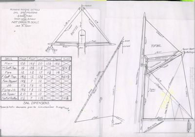 Running Rigging & Sail Specifications Plan for Great Lakes Schooner by Jack B. Spicer