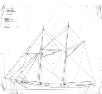 Sail Plan for 1/4 Scale Model of Great Lakes Schooner by Jack B. Spicer