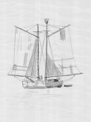 Drawing of Two-mast Scow Schooner - Unidentified Vessel