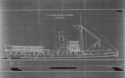 Outboard Profile Plans for U.S. Lighthouse Tender SUMAC (1903)