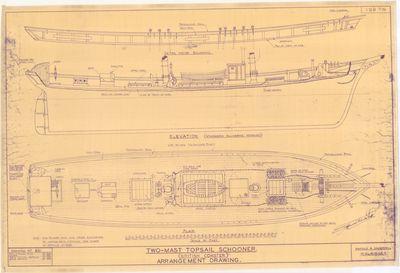 Arrangement Drawing of Two-mast Schooner Schooner [British Coaster]