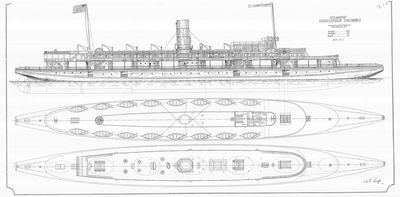 Outboard Profile and Deck Plan of S.S. CHRISTOPHER COLUMBUS