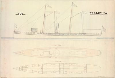 Outboard Profile, Deck & Cabin Plan of Yacht PERMELIA (1882)