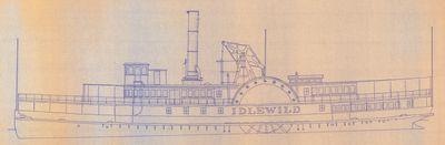 Outboard Profile Plan for Sidewheel Steamer IDLEWILD (1879)