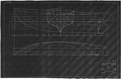 Hull Lines and Body Plan for Auxiliary Cruiser (1938) by Jack B. Spicer