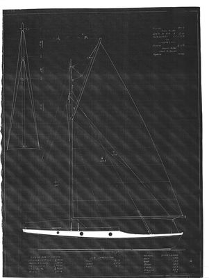 Sail Plan for Auxiliary Cruiser (1938) by Jack B. Spicer
