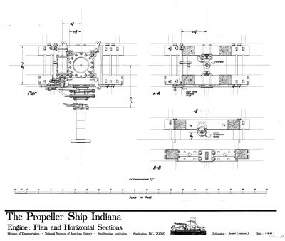 Plan and Horizontal Sections of Engine for the Propeller INDIANA (1848)