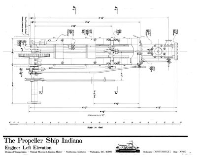 Plan of Left Elevation - Engine  for the Propeller INDIANA (1848)