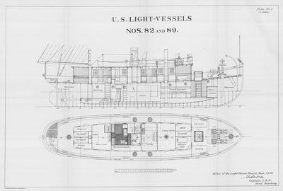 Inboard and Deck View for U.S. Light-Vessels Nos. 82 and 89