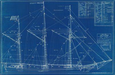 Model Rigging Plan for Schooner LUCIA A. SIMPSON (1875)