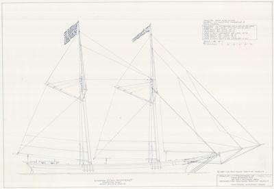 Spar and Sail Plan for Schooner DEAN RICHMOND (1855)
