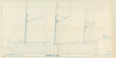 Outboard Profile for LIZZIE A. LAW (1875)