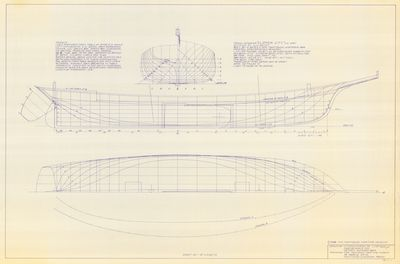 Hull Lines and Body Plan for Topsail Schooner CLIPPER CITY (1854)