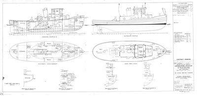 General Arrangement Inboard & Outboard Profile Sections for 45' Steel Motor Tender (1944)