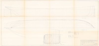 Hull Lines and Body Plan for Steam Barge D.D. CALVIN (1883)