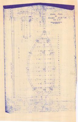 Rudder Frame Plan for Steam Barges Nos. 119, 120 & 121