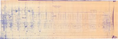 Inboard Profile and Deck Plan for Steam Barges Nos. 119, 120 & 121