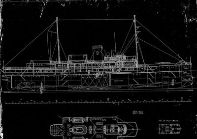 Inboard Profile and Deck Views for DELPHINE (1921)