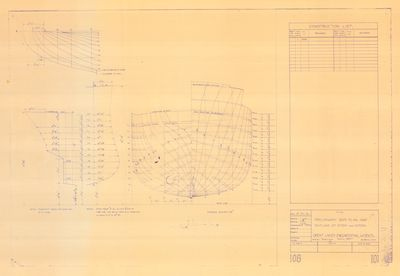Preliminary Body Plan and Outline of Stem and Stern for DELPHINE (1921)