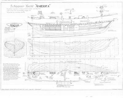 Hull Lines & Inboard Profile for Schooner Yacht AMERICA (1851)