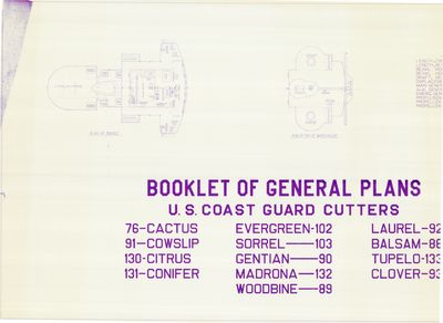 Booklet of General Plans Cover and General Arrangement of Bridge & Top of Wheelhouse for U.S. Coast Guard Cutters