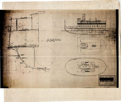 Proposed Great Lakes Engineering Works Plans for Ferry Steamer (1913) [3 Sheets]