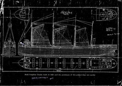 General Arrangement for Bulk Freighter ONOKO (1882)