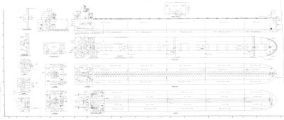 Outboard Profile and Deck Plans for Bulk Freighter
