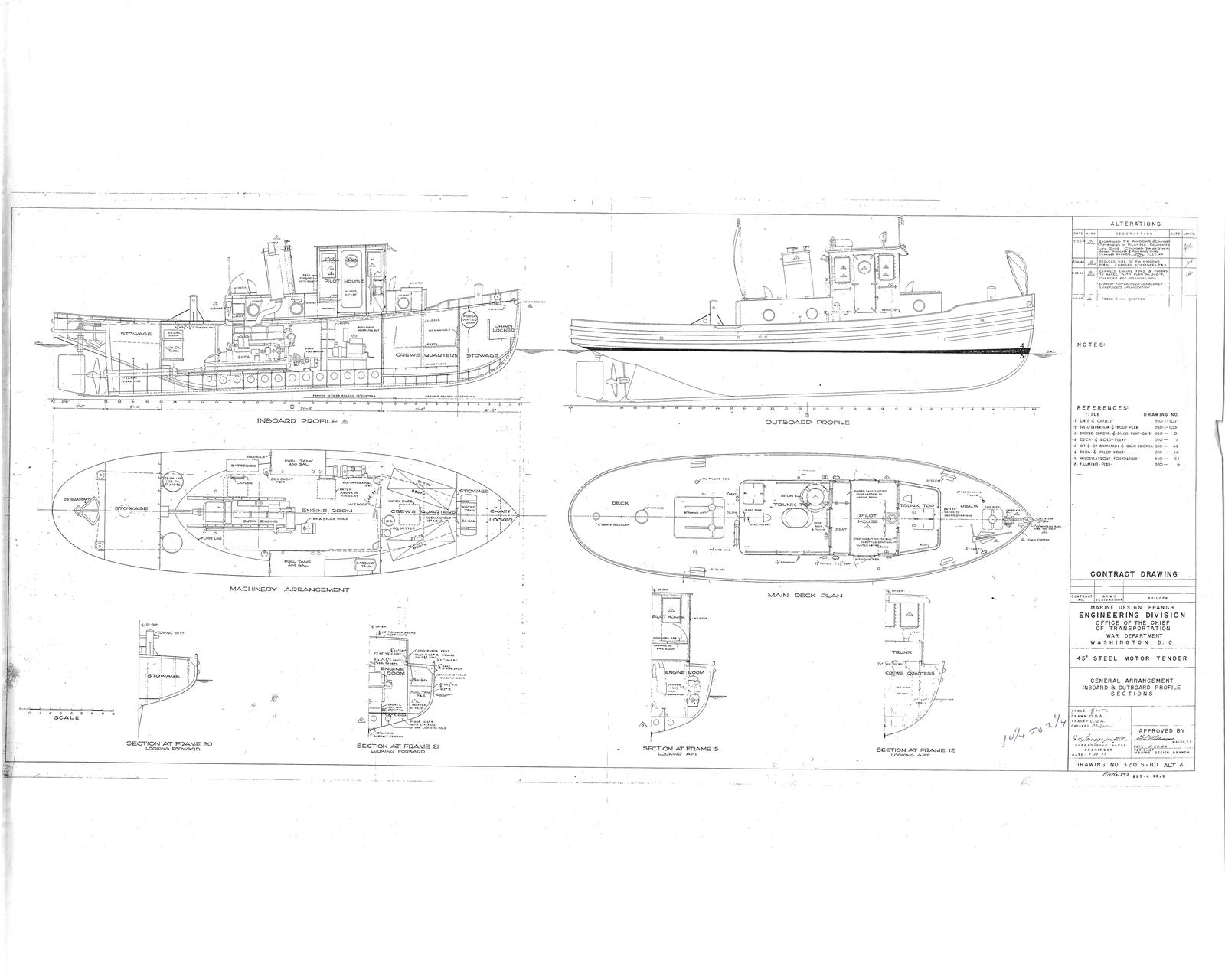 General Arrangement of Inboard & Outboard Profile for 45' Steel Motor Tender