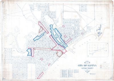Zoning Map of the City of Alpena with Color-Coordinated Districts 1925