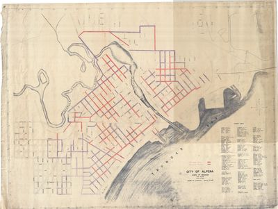 Water Main Addition Map for the City of Alpena, State of Michigan 1944