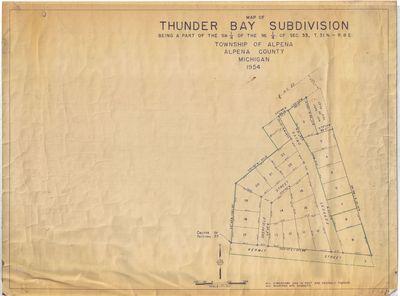 Map of Thunder Bay Subdivision, Township of Alpena, MI (1954)