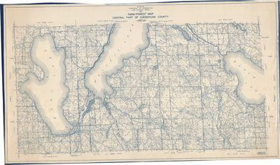 Farm-Forest Map Central Part of Cheboygan County, Michigan (1932)