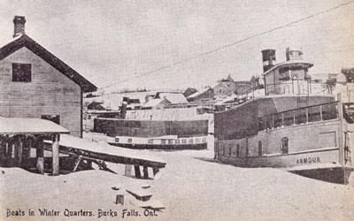Boats in Winter Quarters, Burk's Falls, Ontario, circa 1917.