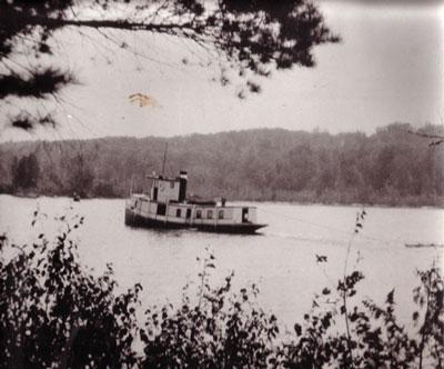 The Mike Hauling Tanbark, Magnetawan River, circa 1917.