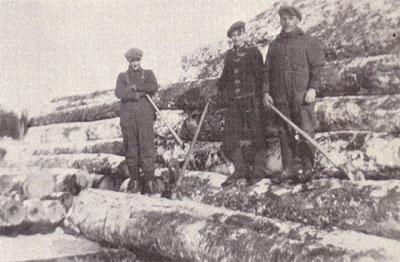 Three Loggers holding Cant Hooks, circa 1930