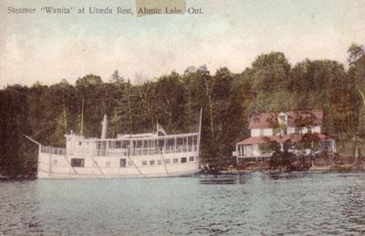 Steamer Wanita at Uneda Rest, Ahmic Lake, Ontario, circa 1910