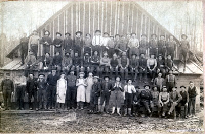 Group of Loggers on a Building, circa 1930