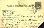 Postcard Sent to Mrs. Howard Bell, 1907
