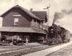 Train Leaving Train Station, Burk's Falls, circa 1935