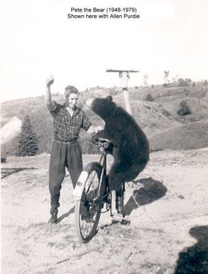 Pete the Bear on Bike, circa 1960