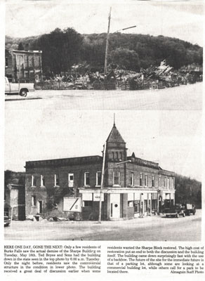 Demolition of the Sharpe Building, Newspaper clipping, circa 1960.