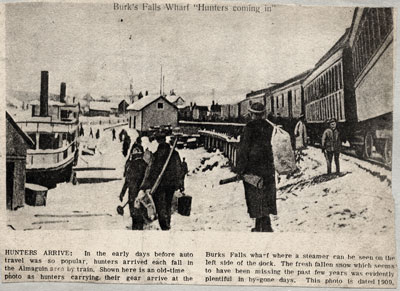 Hunters Arriving in Burk's Falls, Newspaper Clipping